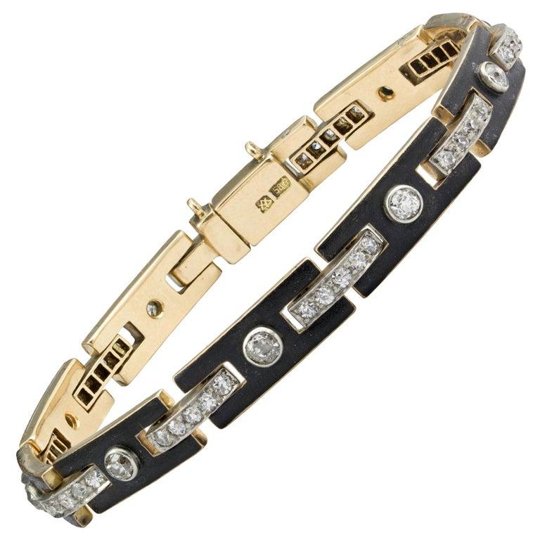 Art Deco Black Enamel and Diamond Bracelet For Sale