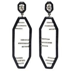 Art Deco Black Enamel, Diamond and Sterling Silver Dangle Earrings