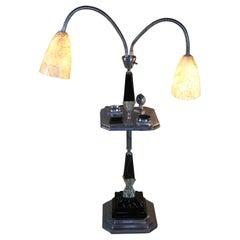 Art Deco Black Glass & Chrome Smoking Table Gooseneck Lights Floor Lamp Ashtray