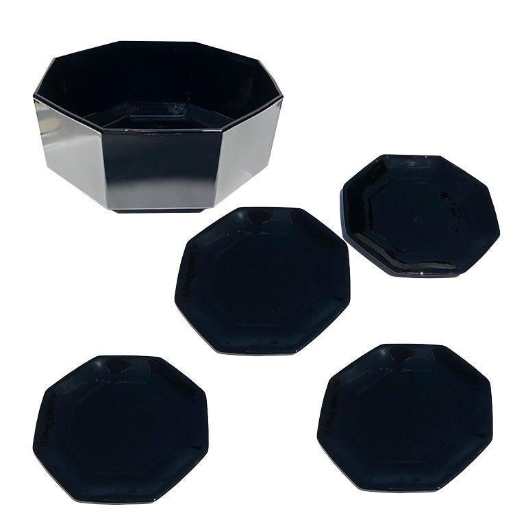 Mid Century Black Glass Octagonal Dinner Plate and Bowl Set France Set of 5