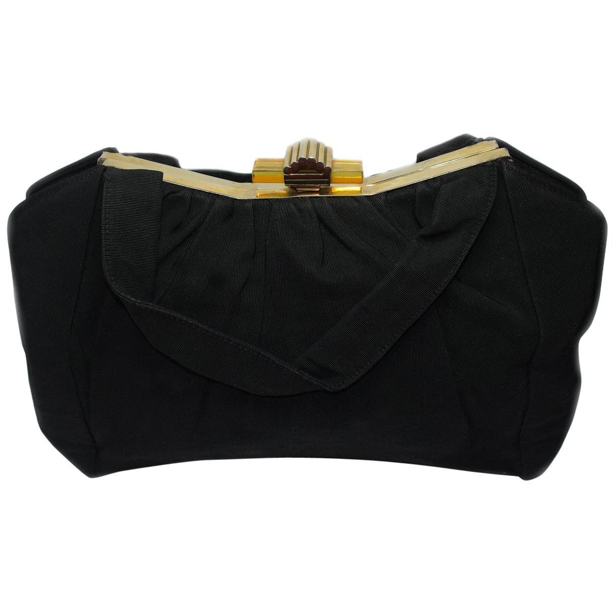 Art Deco Black Grosgain and Bakelite Bag