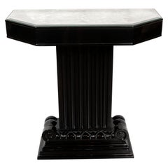 Art Deco Black Lacquer and Antiqued Mirror Console Table by Grosfeld House