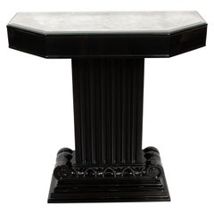 Art Deco Black Lacquer and Antiqued Mirror Console Tables by Grosfeld House