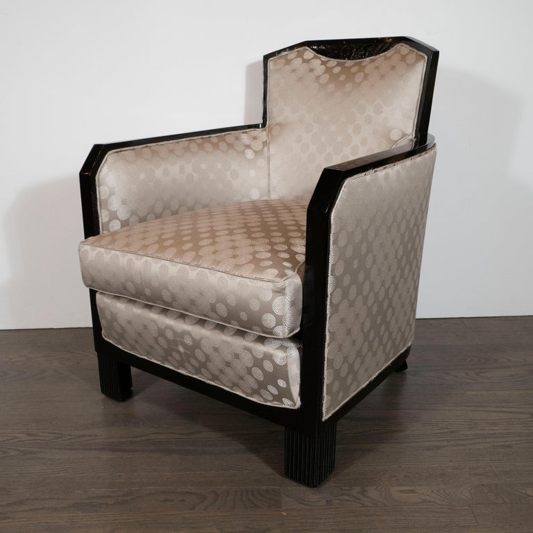 Art Deco Black Lacquer and Platinum Silk Club Chairs with Cubist Detailing In Excellent Condition For Sale In New York, NY