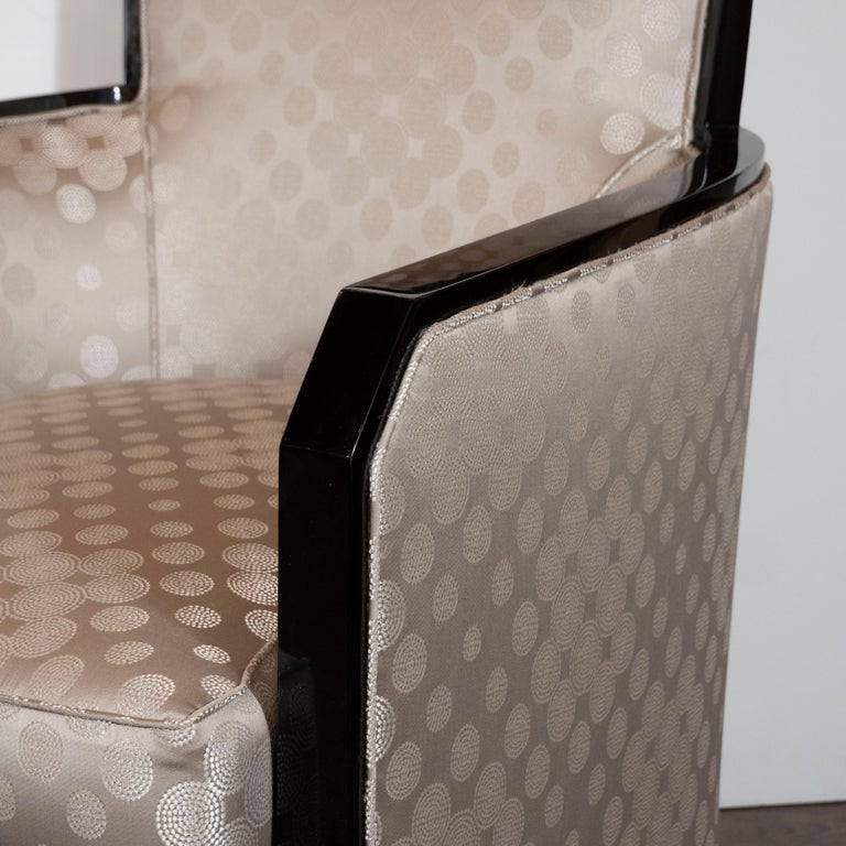 Mid-20th Century Art Deco Black Lacquer and Platinum Silk Club Chairs with Cubist Detailing For Sale