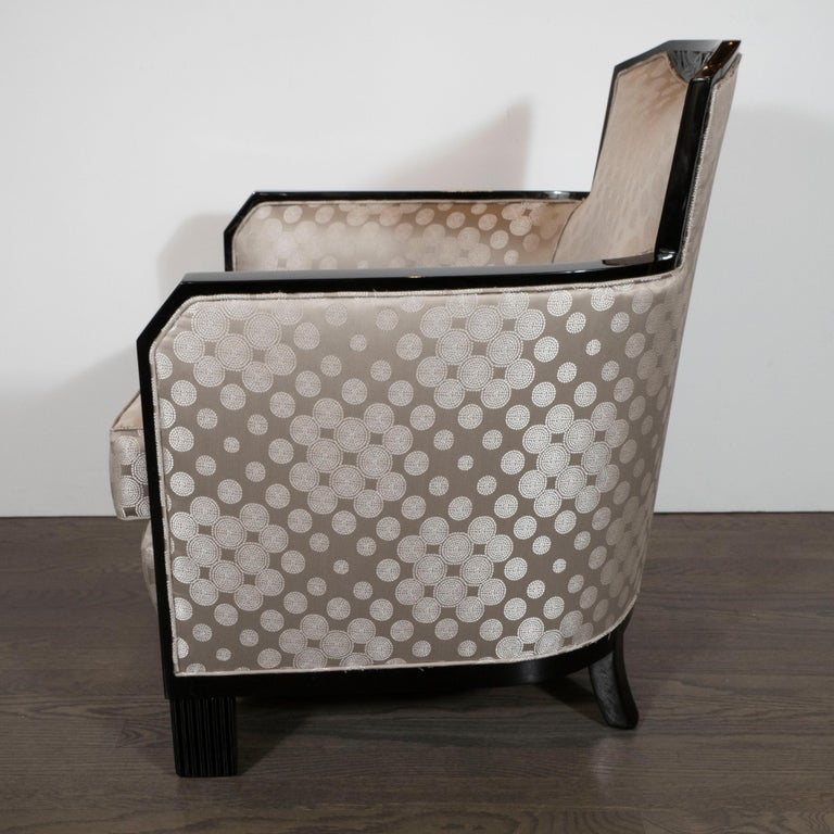 Art Deco Black Lacquer and Platinum Silk Club Chairs with Cubist Detailing For Sale 1