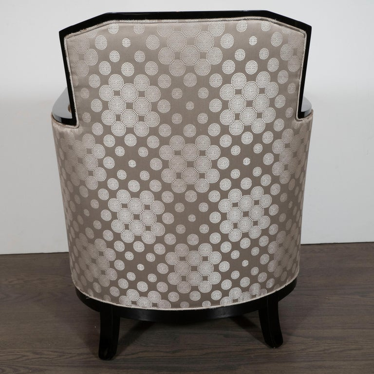 Art Deco Black Lacquer and Platinum Silk Club Chairs with Cubist Detailing For Sale 3