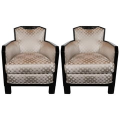 Art Deco Black Lacquer and Platinum Silk Club Chairs with Cubist Detailing