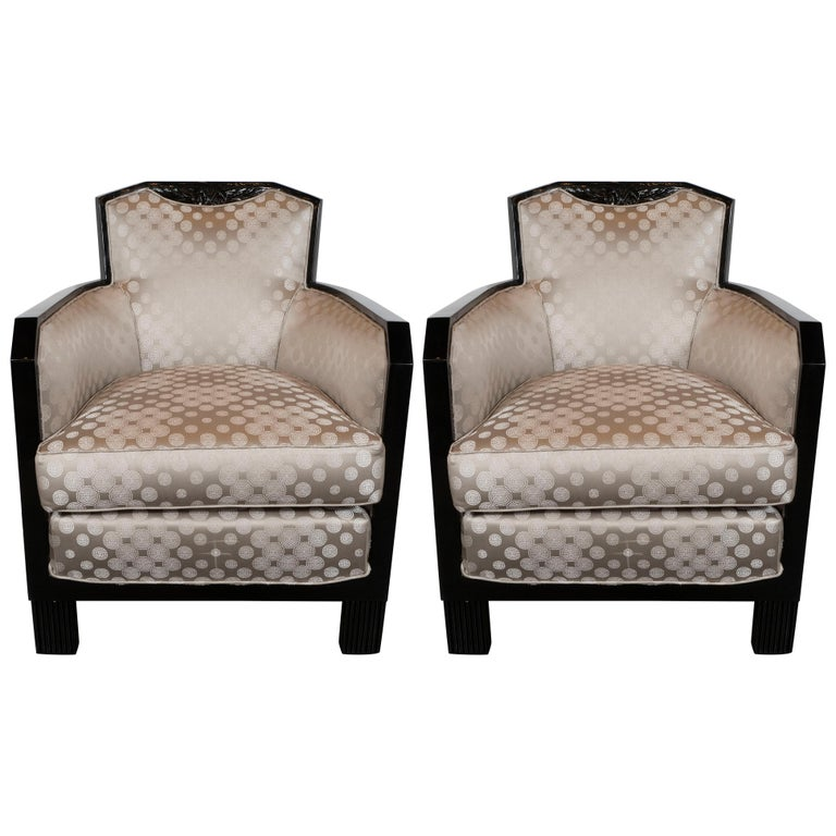 Art Deco Black Lacquer and Platinum Silk Club Chairs with Cubist Detailing For Sale