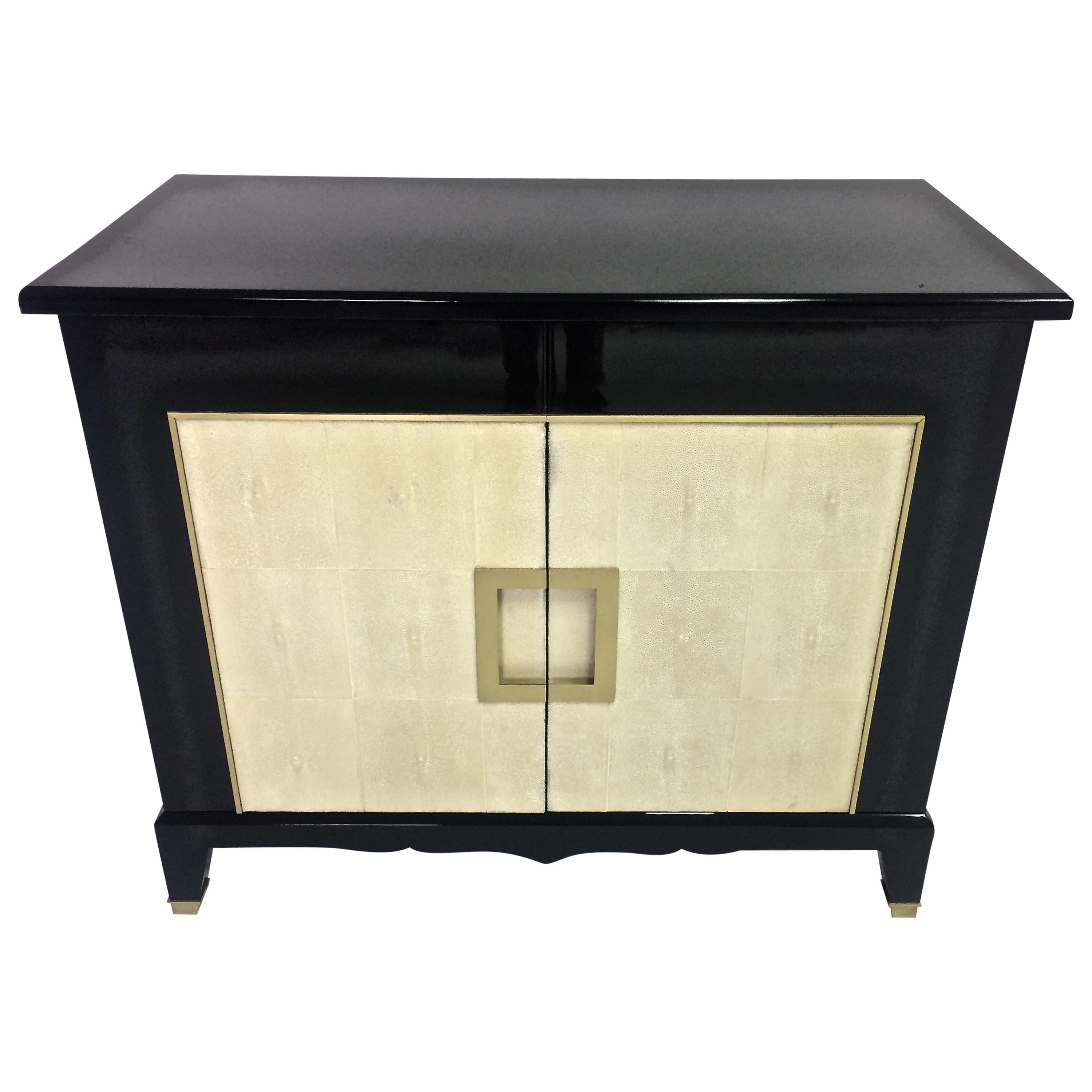 Art deco black lacquer and shagreen cabinet in stock for sale at 1stdibs