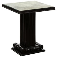 Art Deco Black Lacquer Occasional Table with Antique Mirror by Grosfeld House