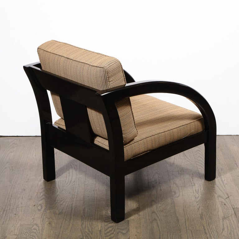 Art Deco Black Lacquer Streamlined Armchair by Modernage Furniture Company For Sale 5