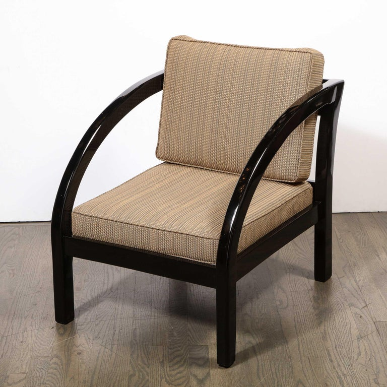 American Art Deco Black Lacquer Streamlined Armchair by Modernage Furniture Company For Sale