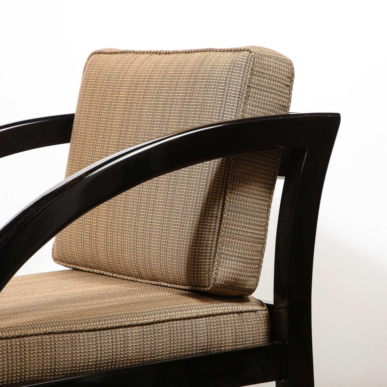 Mid-20th Century Art Deco Black Lacquer Streamlined Armchair by Modernage Furniture Company For Sale