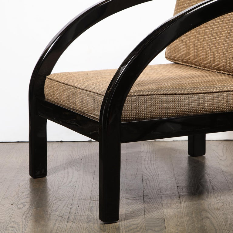 Upholstery Art Deco Black Lacquer Streamlined Armchair by Modernage Furniture Company For Sale