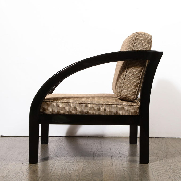 Art Deco Black Lacquer Streamlined Armchair by Modernage Furniture Company For Sale 1