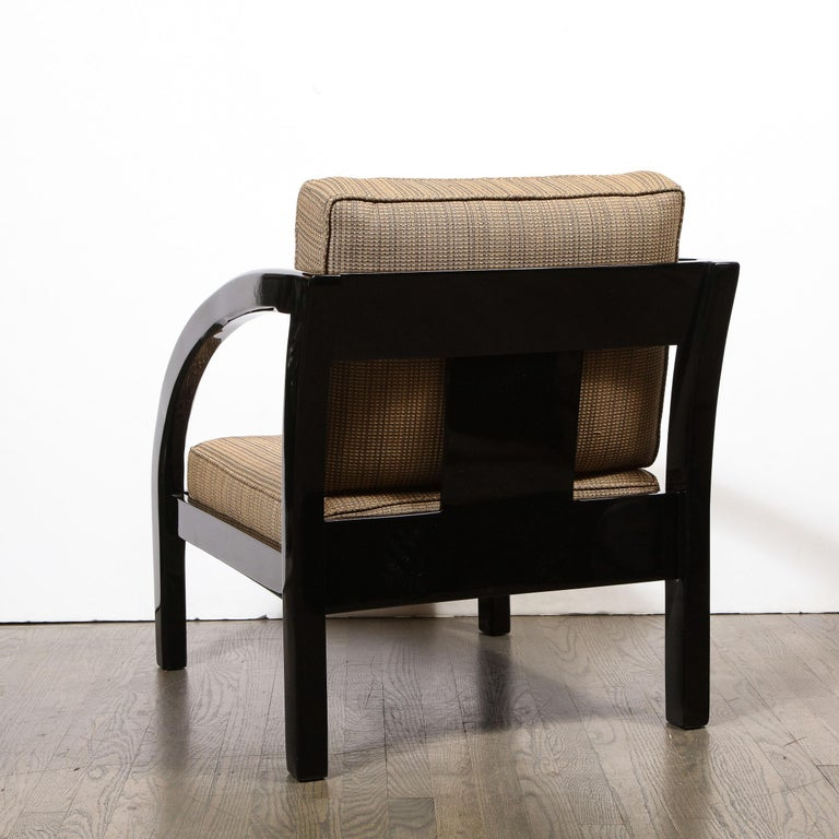 Art Deco Black Lacquer Streamlined Armchair by Modernage Furniture Company For Sale 2
