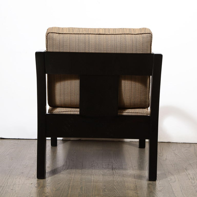 Art Deco Black Lacquer Streamlined Armchair by Modernage Furniture Company For Sale 3