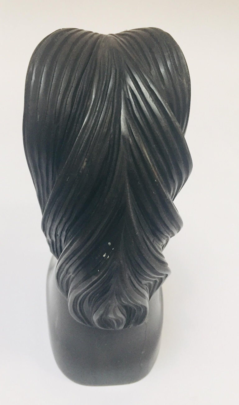 Art Deco Black Marble Sculpture of  Horse Head Bust For Sale 1