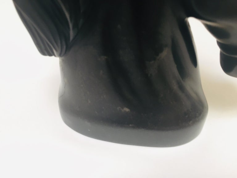 Art Deco Black Marble Sculpture of  Horse Head Bust For Sale 4