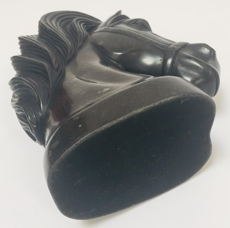 Art Deco Black Marble Sculpture of  Horse Head Bust For Sale 7