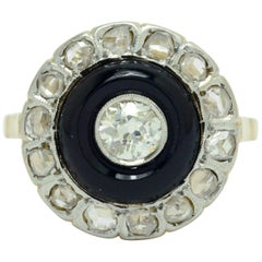 Art Deco Black Onyx Engagement Ring Old Mine Diamond Antique Cocktail Statement