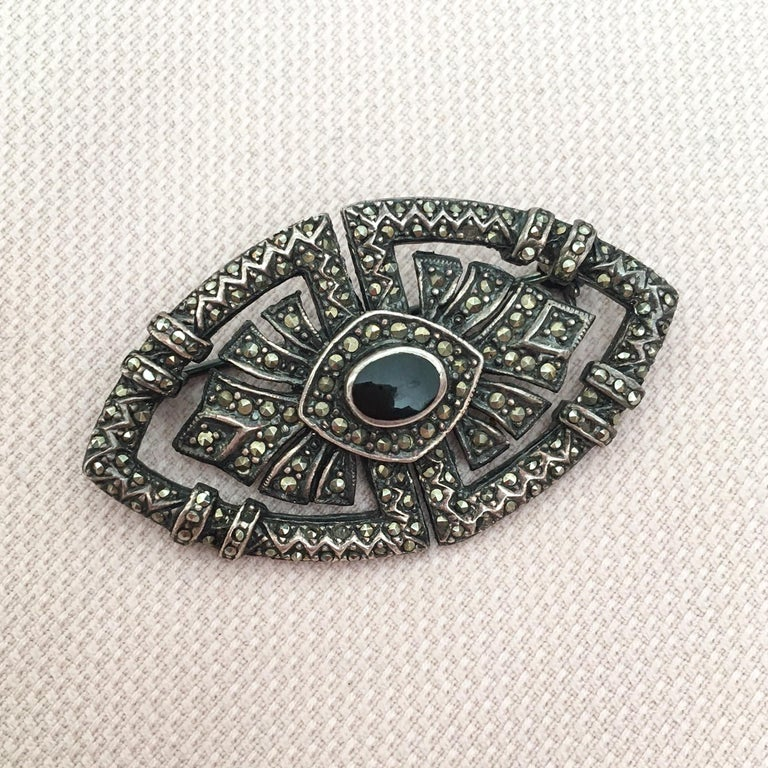 Art Deco Onyx Marcasite Openwork Sterling Silver Brooch For Sale 5
