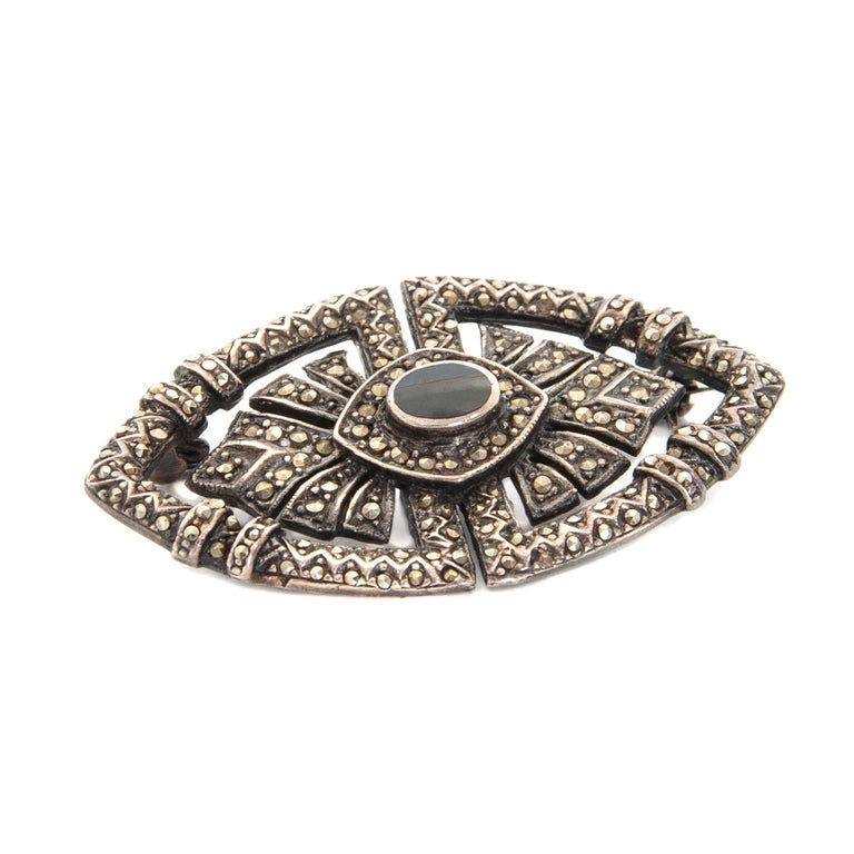 Round Cut Art Deco Onyx Marcasite Openwork Sterling Silver Brooch For Sale