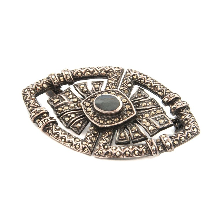 Women's Art Deco Onyx Marcasite Openwork Sterling Silver Brooch For Sale