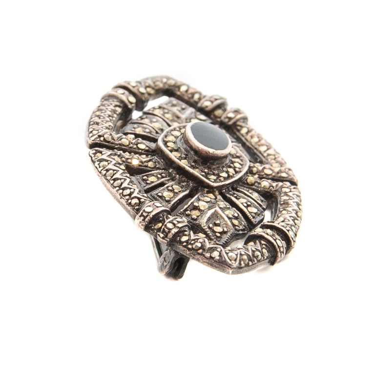 Art Deco Onyx Marcasite Openwork Sterling Silver Brooch For Sale 1