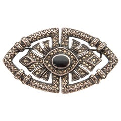 Art Deco Onyx Marcasite Openwork Sterling Silver Brooch