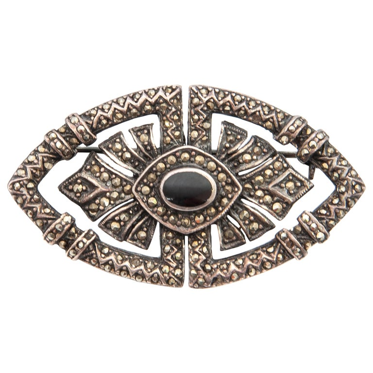 Art Deco Onyx Marcasite Openwork Sterling Silver Brooch For Sale