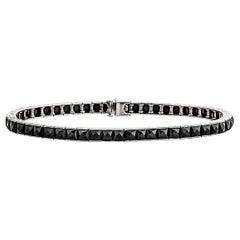Art Deco Black Onyx Platinum Line Bracelet