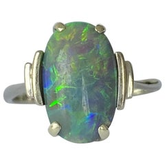 Art Deco Black Opal and 18 Carat White Gold Ring