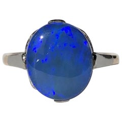 Art Deco Black Opal and 9 Carat Gold Ring