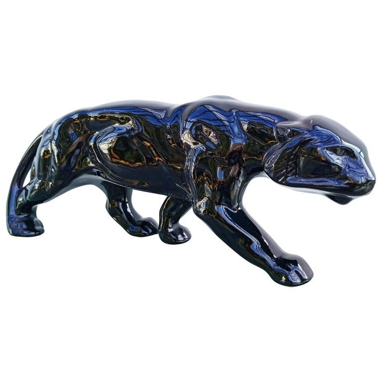 Art Deco Black Panther Ceramic, France, 1930s For Sale