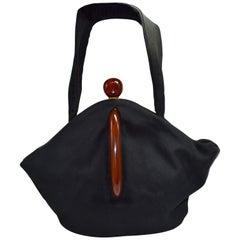 Art Deco Black Suede Phenolic Bakelite Ladies Bag, circa 1930s
