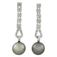 Art Deco Black Tahitian Pearl and 0.90 Total Carat Diamond Earrings