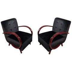 Art Deco Black Velvet and Dark Red Wood Armrest Armchairs