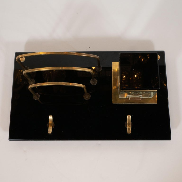 Art Deco Black Vitrolite and Brass Desk Set with Pen Rest, Inkwell & Stamp Caddy 5