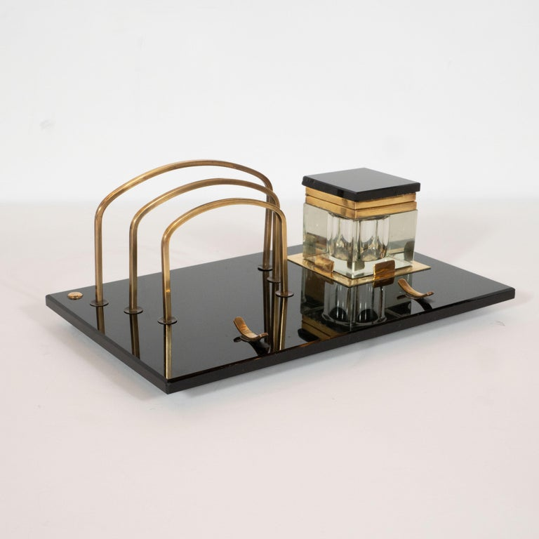 Art Deco Black Vitrolite and Brass Desk Set with Pen Rest, Inkwell & Stamp Caddy 6