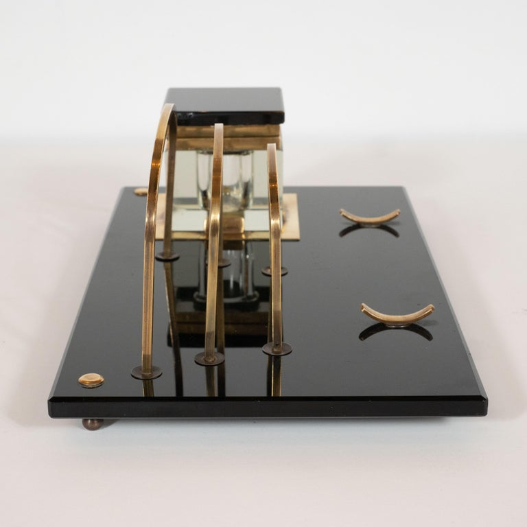 Art Deco Black Vitrolite and Brass Desk Set with Pen Rest, Inkwell & Stamp Caddy 7