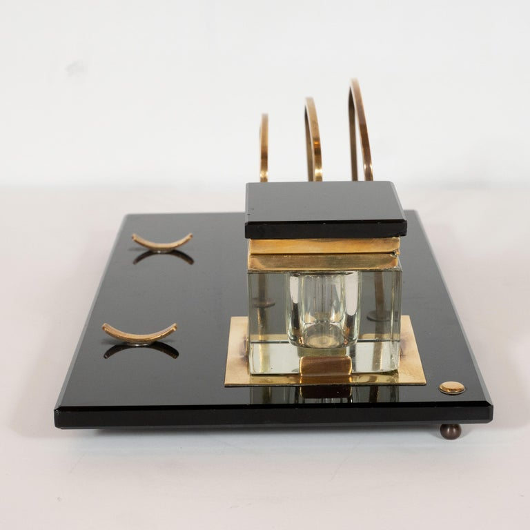 Art Deco Black Vitrolite and Brass Desk Set with Pen Rest, Inkwell & Stamp Caddy 8