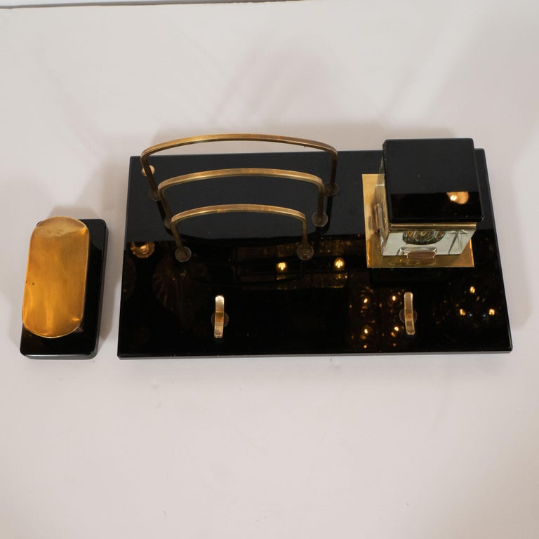American Art Deco Black Vitrolite and Brass Desk Set with Pen Rest, Inkwell & Stamp Caddy