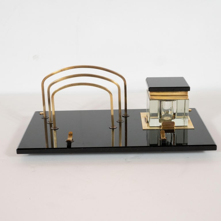Art Deco Black Vitrolite and Brass Desk Set with Pen Rest, Inkwell & Stamp Caddy 2