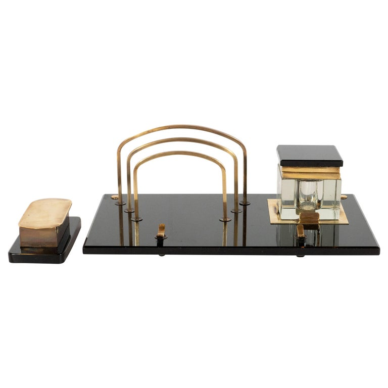 Art Deco Black Vitrolite and Brass Desk Set with Pen Rest, Inkwell & Stamp Caddy