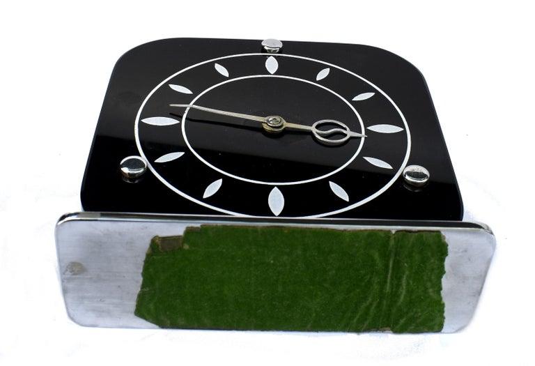 Art Deco Black Vitrolite & Chrome Mantle Clock, English, c1930 For Sale 2