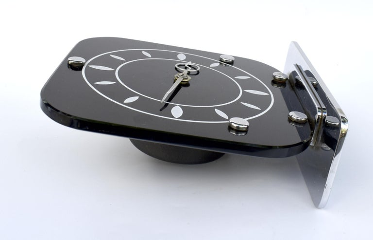 Art Deco Black Vitrolite & Chrome Mantle Clock, English, c1930 For Sale 3