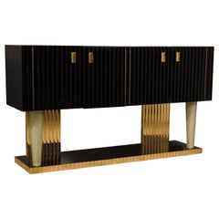 Art Deco Black Wood Brass and Murano Glass Italian Sideboard, 1920