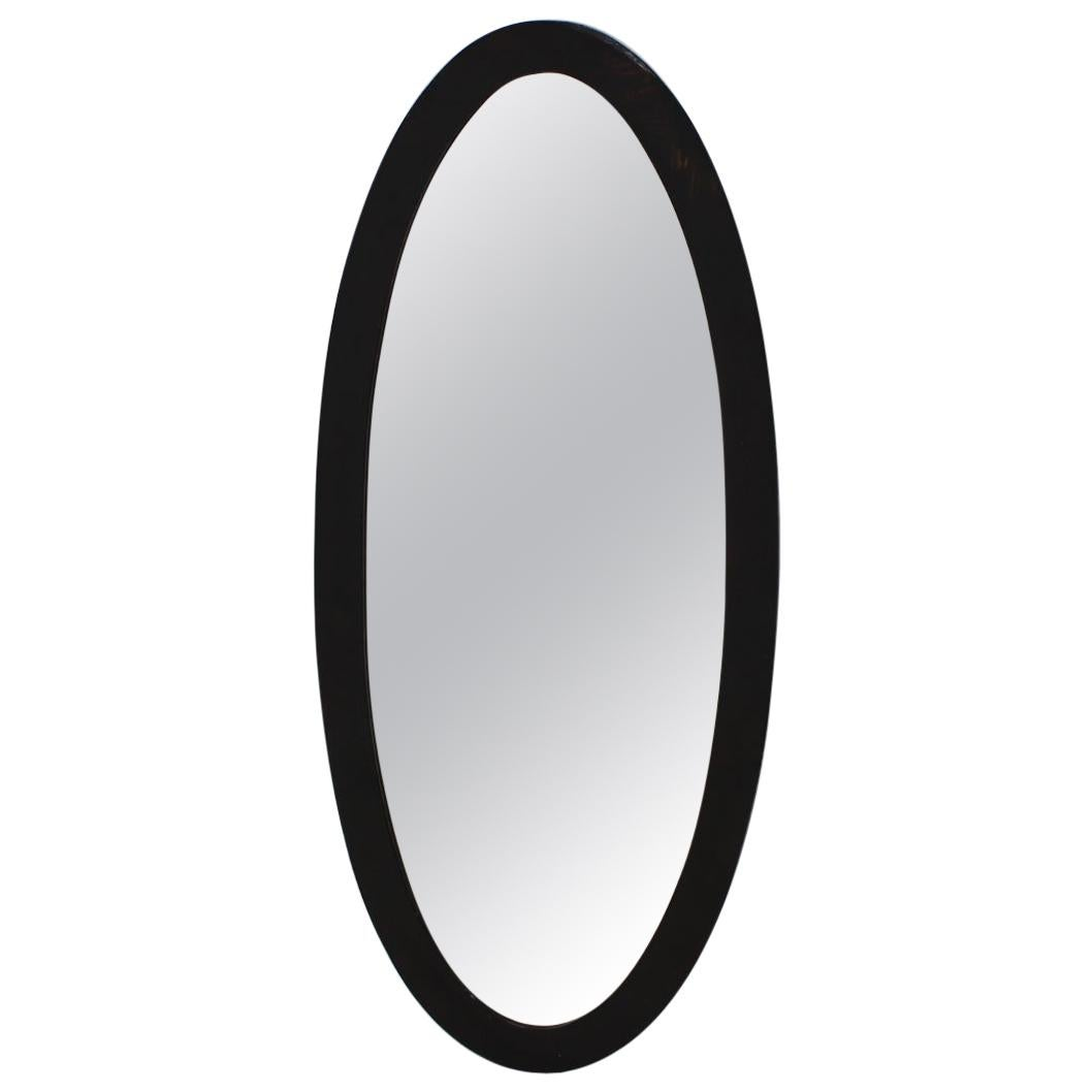 Art Deco Black Wood Mirror, 1930s